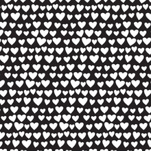 Load image into Gallery viewer, 12x12 patterned paper - rows of white hearts on black background - American Crafts