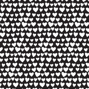 12x12 patterned paper - rows of white hearts on black background - American Crafts