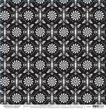 Load image into Gallery viewer, FORMAL Damask Black and White Pattern on 12x12 Cardstock by American Crafts