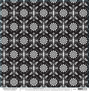 FORMAL Damask Black and White Pattern on 12x12 Cardstock by American Crafts