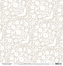 Load image into Gallery viewer, 12x12 DAMASK Cardstock from American Crafts - white floral on tan background