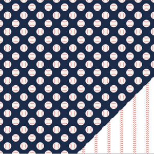 Baseballs 12x12 double-sided patterned paper with baseballs on blue background and reverse has red stitching from baseball seams - American Crafts