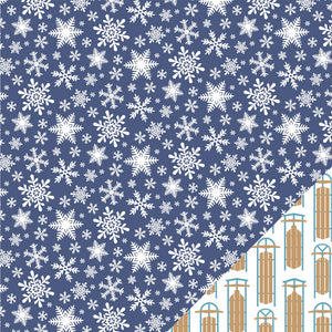 12x12 double-sided patterned cardstock with snowflakes on one side and snow sleds on reverse - American Crafts