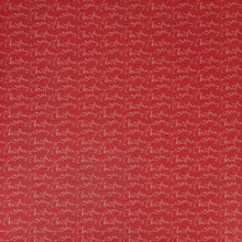 Load image into Gallery viewer, 12x12 patterned cardstock with the words Merry Christmas on cherry red background