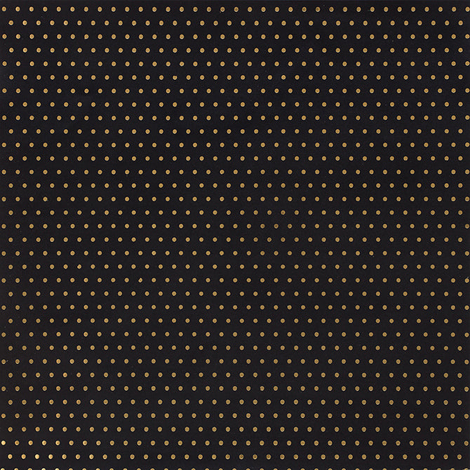 12x12 patterned cardstock with gold foil dots on black background - American Crafts
