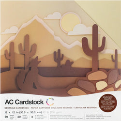 Neutrals colors-variety pack-60 ct-12x12 inch-80 lb-textured cardstock-American Crafts