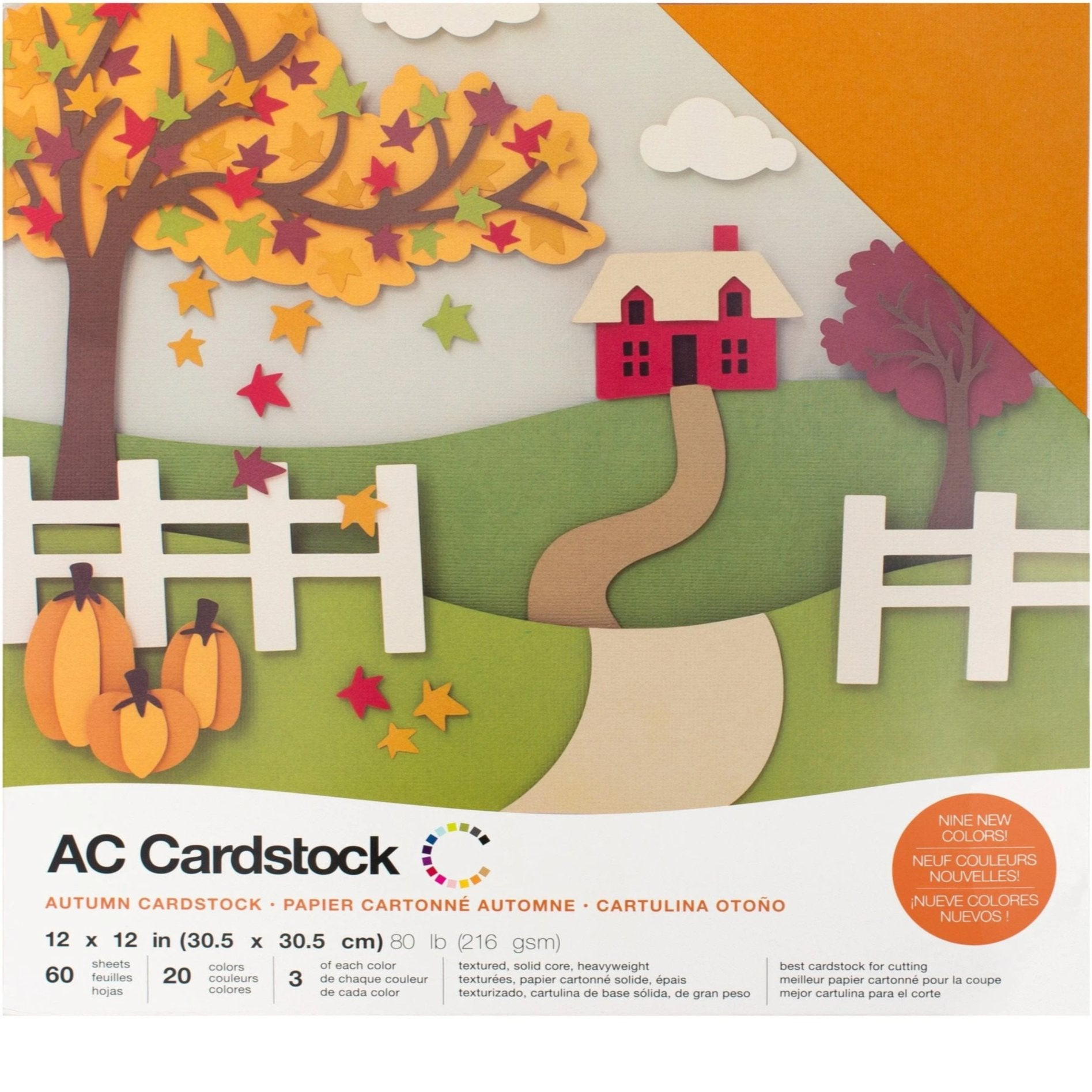 """American Crafts 12/"""" x 12/"""" Brights Design Textured Cardstock Pack 60 Sheets"""