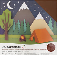 Load image into Gallery viewer, Earthtones Cardstock - variety pack - 60 ct - 12x12 inch - 80 lb - textured scrapbook paper - American Crafts