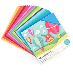 Fan layout of 20 colors of Bright Cardstock in BRIGHTS Variety Pack by American Crafts