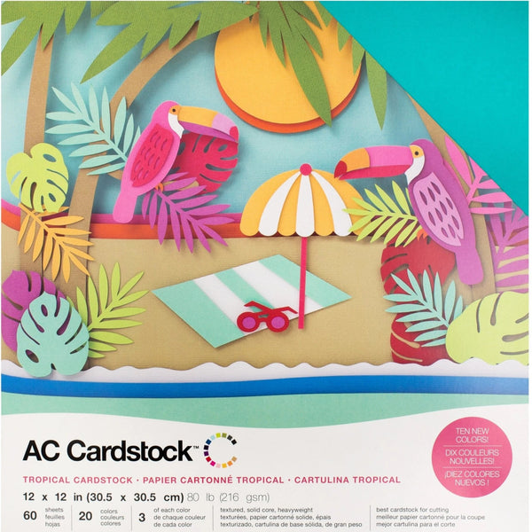 Tropicals colors-variety pack-60 ct-12x12 inch-80 lb-textured cardstock-American Crafts