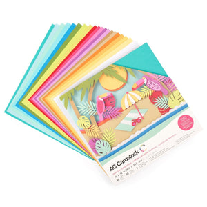 American Crafts TROPICAL Cardstock Variety Pack - Styled fan showing 20 colors