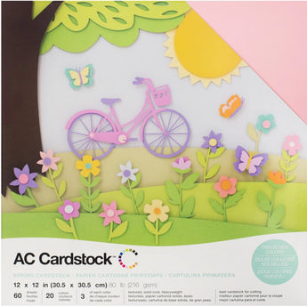Spring colors-variety pack-60 ct-12x12 inch-80 lb-textured cardstock-American Crafts