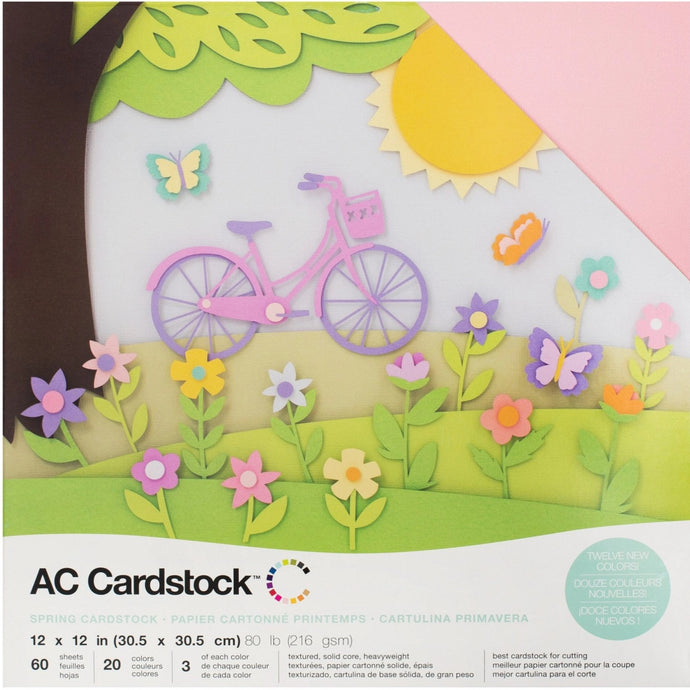 Spring colors - cardstock variety pack - 60 ct - 12x12 inch - 80 lb - textured scrapbook paper - American Crafts
