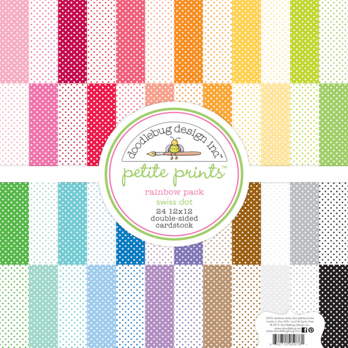 Rainbow SWISS DOT 12x12 cardstock from Petite Prints Collection by Doodlebug Design