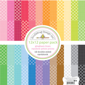 GINGHAM and LINEN Paper Pack from Rainbow Petite Prints Collection by Doodlebug Design