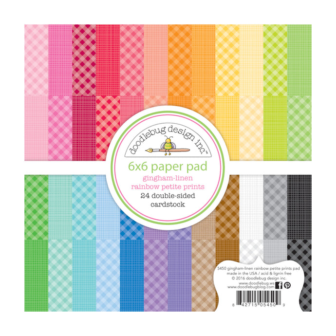 6x6 pad with 24 gingham colors with matching linen reverse - GINGHAM and LINEN from Rainbow Petite Prints Collection by Doodlebug Design