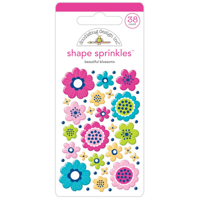 BEAUTIFUL BLOSSOMS Shape Sprinkles in multiple shapes and floral colors - self-adhesive shapes from Doodlebug Design