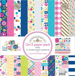 HELLO 12x12 Collection Pack with sticker sheet by Doodlebug Design