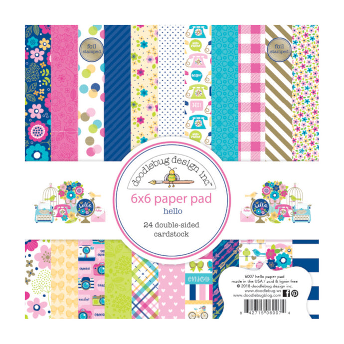 6x6 paper pad with 24 double-sided prints in beautiful spring like colors - from Doodlebug Design
