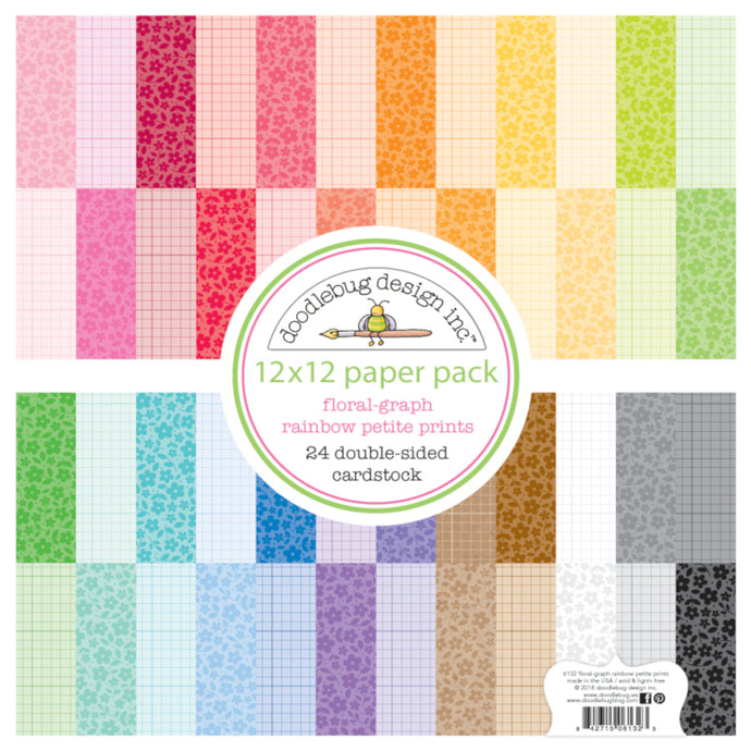 Rainbow Petite Prints FLORAL and GRAPH - 24 double-sided sheets of patterned paper by Doodlebug Design