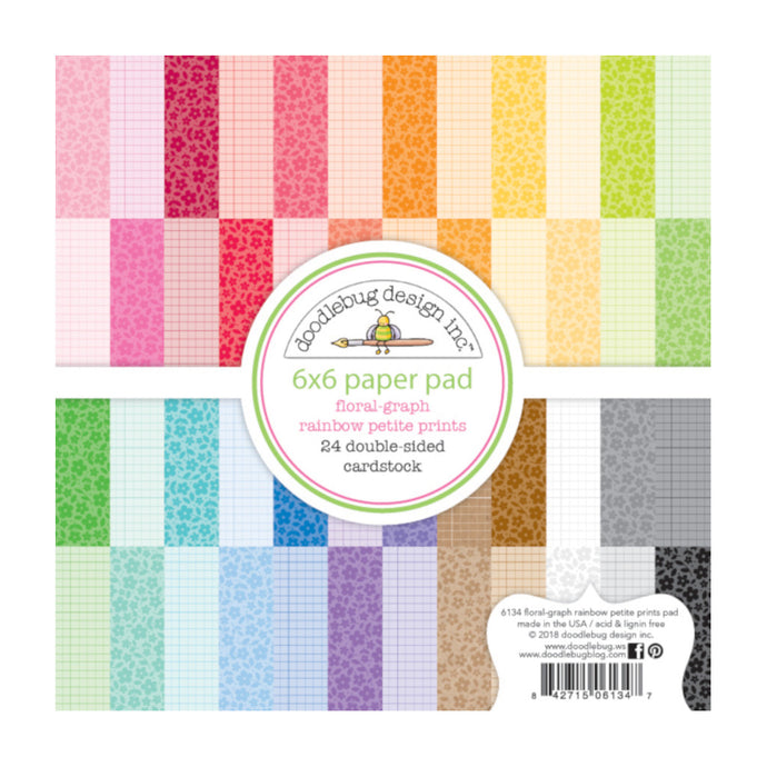 6x6 24 page pad with front-and-back FLORAL and GRAPH patterns from Rainbow Petite Prints by Doodlebug Design