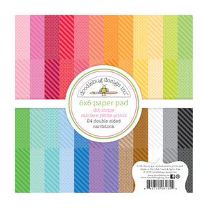 DOT and STRIPE 6x6 Paper Pad with 24 double-sided pages and 24 colors - Rainbow Petite Prints by Doodlebug Design