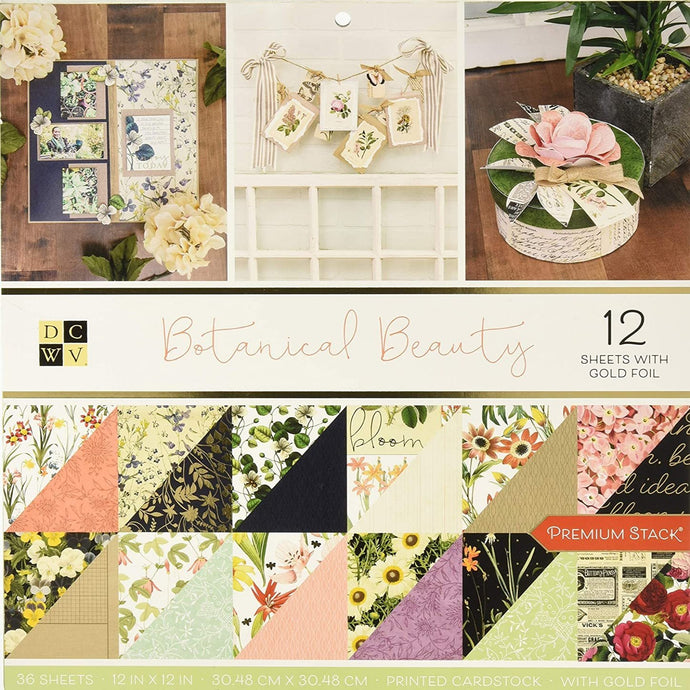 Botanical Beauty Premium Stack from Die Cuts with a View - 36 sheets, 12 with gold foil