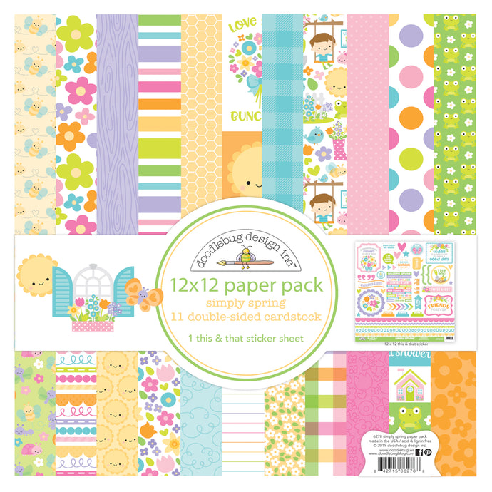 SIMPLY SPRING 12x12 Collection Kit has 11 double-sided pages and one full page of coordinating stickers