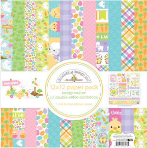 HOPPY EASTER Collection Kit from Doodlebug Design includes 12 sheets of double-side, 12x12 patterned cardstock and full page of stickers