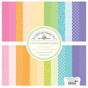 SIMPLY SPRING Assorted Petite Prints includes 12 unique and colorful double-sided patterns from Doodlebug Design