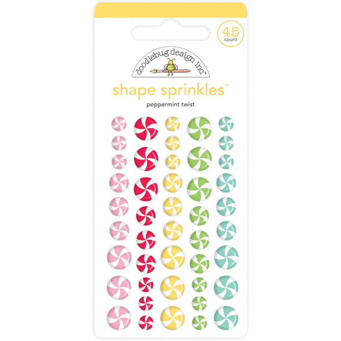 PEPPERMINT TWIST Shape Sprinkles - 54 assorted enamel shapes that look like peppermint candies by Doodlebug Design