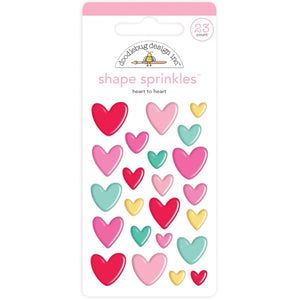 HEART TO HEART Shape Sprinkles - 23 enamel, self-adhesive hearts in multiple colors and sizes by Doodlebug Design