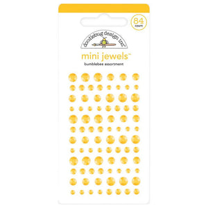 Bumblebee Mini Jewels - 84 yellow rhinestone stickers - Doodlebug Design
