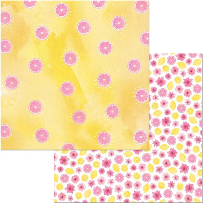 WONDERFUL - 12x12 double-sided patterned cardstock with summery grapefruit and citrus theme - BoBunny