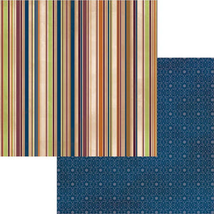 Neighbors - 12x12 double-sided patterned paper with earth tone stripes on one side and geometric blue-on-blue pattern reverse - BoBunny