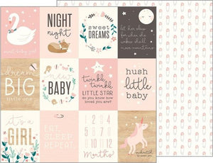 12x12 double-sided patterned cardstock with baby girl theme - Pebbles