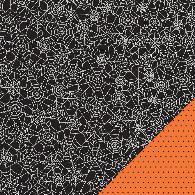 Spider web pattern on double-sided 12x12 cardstock from Pebbles