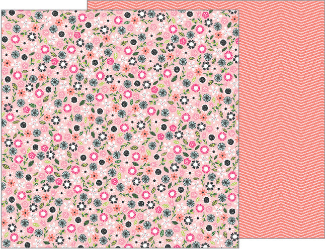 Pebbles - Girl Power - Fri-Yay - 12x12 Floral Petite Print Double-sided PaperPaper
