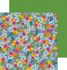 Fresh Picked - 12x12 double-sided patterned paper with colorful floral front and dotted green reverse - Pebbles
