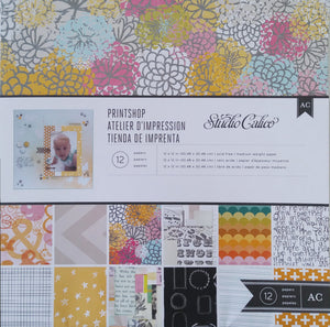 Printshop - collection kit with 12 double-sided papers in muted summer patterns - Studio Calico
