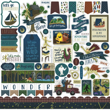 Load image into Gallery viewer, 12x12 Element Sticker sheet coordinates with ADVENTURE AWAITS Collection Kit from Echo Park Paper Co.