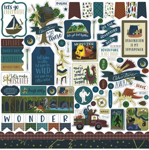 12x12 Element Sticker sheet coordinates with ADVENTURE AWAITS Collection Kit from Echo Park Paper Co.