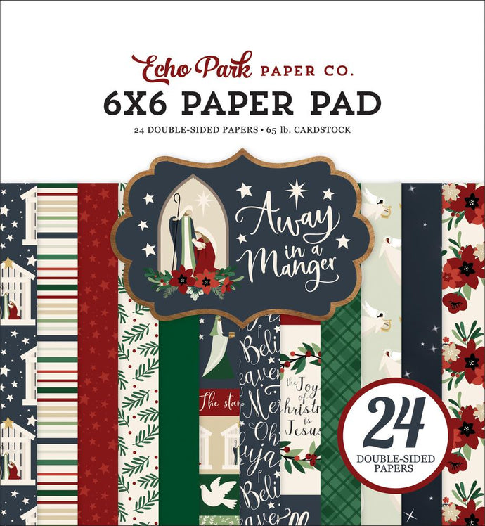 6x6 Pad coordinates with Away in a Manger Christmas Collection from Echo Park Paper Co.