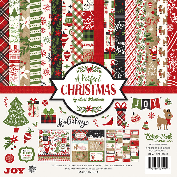 A PERFECT CHRISTMAS 12x12 Cardstock Collection Kit by Echo Park Paper Co.