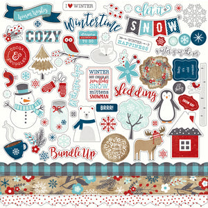 12x12 Element Sticker Sheet for A PERFECT WINTER Collection Kit by Echo Park Paper Co.