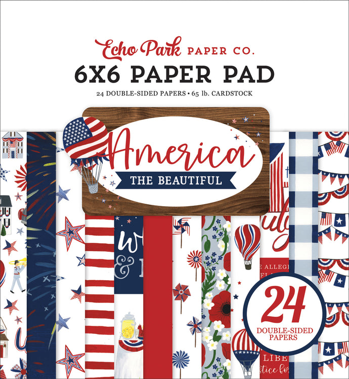 AMERICA THE BEAUTIFUL 6x6 cardstock pad with 24 double-sided pages from Carta Bella Paper Co.