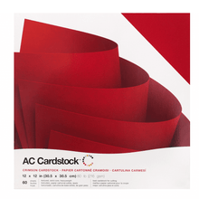 Load image into Gallery viewer, American Crafts CRIMSON red cardstock - 60 pack - 12x12 - 80 lb scrapbook paper