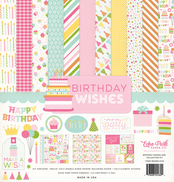 Birthday Wishes Girl - 12x12 collection kit with element stickers to celebrate girl's party - Echo Park Paper