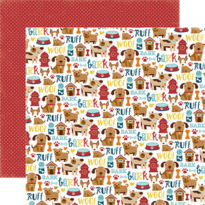 """Puppy Icons"" 12x12 double-sided designer cardstock is part of BARK page collection kit by Echo Park Paper Co."