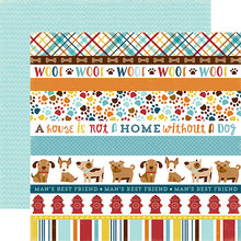 "Load image into Gallery viewer, ""Dog Border Strips"" 12x12 double-sided designer cardstock is part of BARK page collection kit by Echo Park Paper Co."